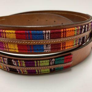 Johnston & Murphy leather:knit multi color belt